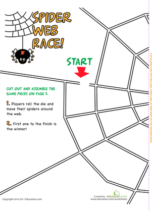 Preschool Offline Games Worksheets: Spider Game