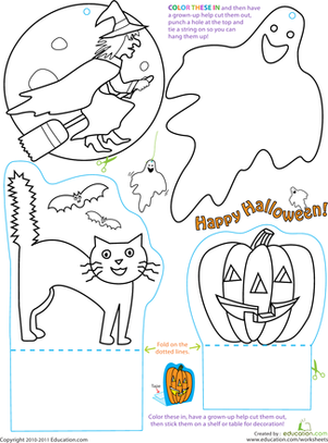 Second Grade Holidays Worksheets: How to Make Halloween Decorations