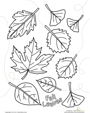 Preschool Holidays & Seasons Worksheets: Autumn Leaves Coloring Page