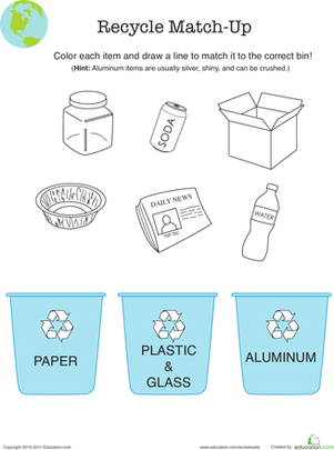 First Grade Holidays & Seasons Worksheets: Recycle Worksheet