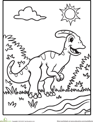 Preschool Coloring Worksheets: Color the Cute Dinosaur: Hadrosaur