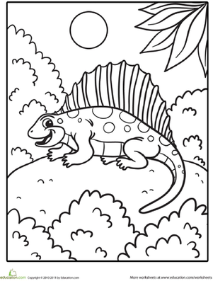 Preschool Coloring Worksheets: Dimetrodon Coloring Page