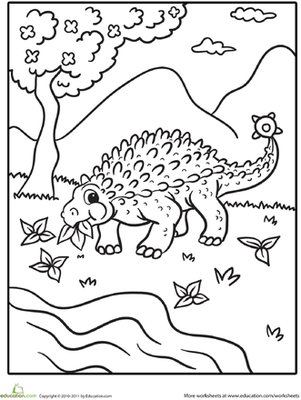 Color the Dinosaur Ankylosaurus Worksheet