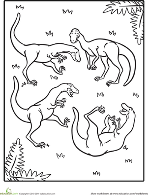 Preschool Coloring Worksheets: Color the Cute Dinosaur: Coelophysis