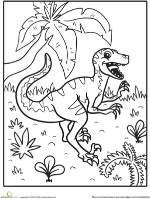 Preschool Coloring Worksheets: Color the Happy Dinosaur
