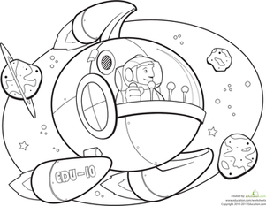 Kindergarten Coloring Worksheets: Spaceship Coloring Page