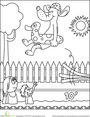 Preschool Holidays & Seasons Worksheets: Color the Dog in the Pool