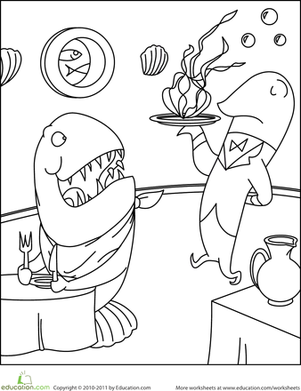 Preschool Coloring Worksheets: Color the Underwater Restaurant Scene