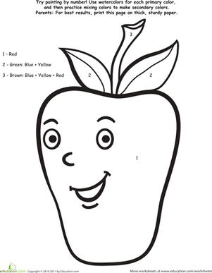 Preschool Math Worksheets: Paint by Number