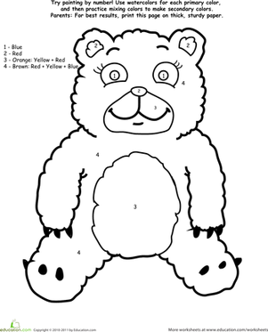 Preschool Math Worksheets: Watercolor Paint by Number: Bear