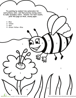 preschool math worksheets watercolor paint by number bee - Painting Worksheets For Kindergarten