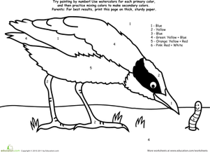 Kindergarten Math Worksheets: Watercolor Paint by Number: Bird