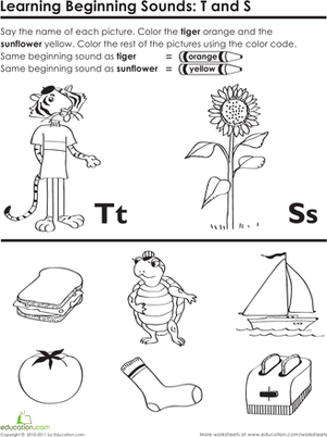 Preschool Reading & Writing Worksheets: Beginning Sounds: T and S
