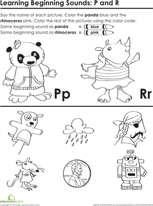 Preschool Reading & Writing Worksheets: Beginning Sounds: P and R