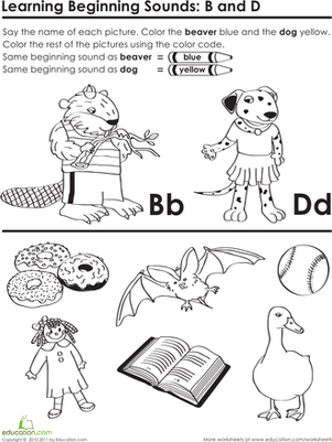 Preschool Reading & Writing Worksheets: Beginning Sounds: B and D