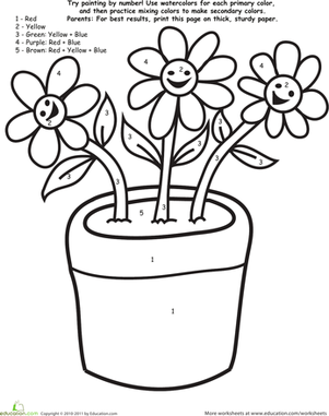 Preschool Math Worksheets: Watercolor Paint by Number: Flowers