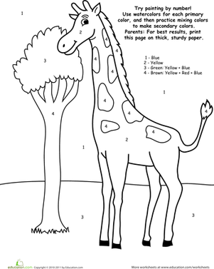 Preschool Math Worksheets: Watercolor Paint by Number: Giraffe