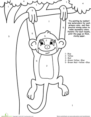 Kindergarten Math Worksheets: Watercolor Paint by Number: Monkey