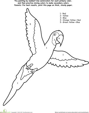 Kindergarten Math Worksheets: Watercolor Paint by Number: Parrot