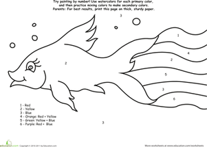 Preschool Math Worksheets: Watercolor Paint by Number: Rainbow Fish