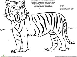Preschool Math Worksheets: Watercolor Paint by Number: Tiger