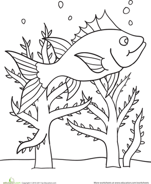 Preschool Coloring Worksheets: Color the Swimming Fish Scene