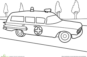 Preschool Coloring Worksheets: Retro Ambulance Coloring Page