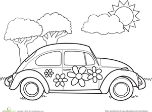 Preschool Coloring Worksheets VW Bug Page