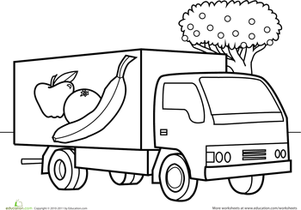 Preschool Coloring Worksheets: Color the Car: Fruit Truck