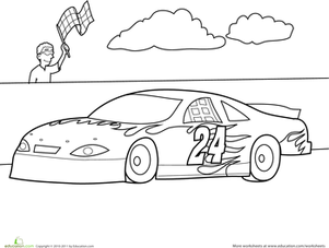 Preschool Coloring Worksheets: Color the Car: Race Car