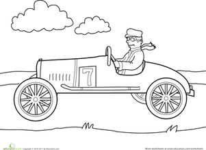 Preschool Coloring Worksheets: Color the Car: Old-Fashioned Car