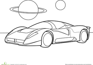 Preschool Coloring Worksheets: Color the Car: Space Car
