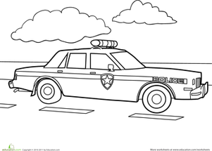 Police Car Coloring Page Education Com