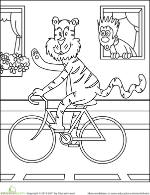 Preschool Coloring Worksheets: Color the Biking Tiger