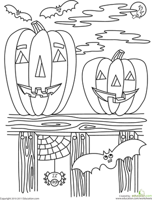 Preschool Holidays & Seasons Worksheets: Halloween Coloring Page