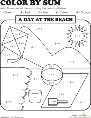 Colour by Sum: Beach Day | Worksheet | Education.com