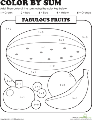 First Grade Math Worksheets: Color by Sum: Fabulous Fruits
