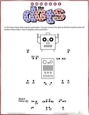 Kindergarten Math Worksheets: Connect the Dots: Robot