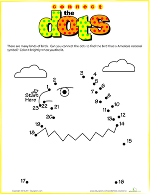 Kindergarten Math Worksheets: Bald Eagle Dot-to-Dot