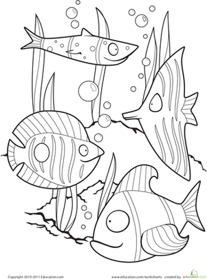 Preschool Coloring Worksheets: Color the Fancy Fish