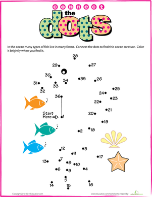 Kindergarten Offline games Worksheets: Connect the Dots: Seahorse