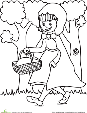 Preschool Coloring Worksheets: Color the Little Red Riding Hood Scene