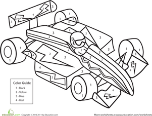 Kindergarten Math Worksheets: Color by Number Race Car