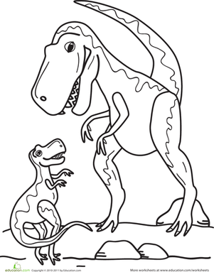 Preschool Coloring Worksheets: T-Rex Family Coloring Page