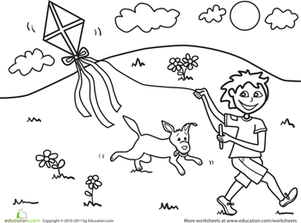 Preschool Holidays & Seasons Worksheets: Color the Kite-Flying Fun