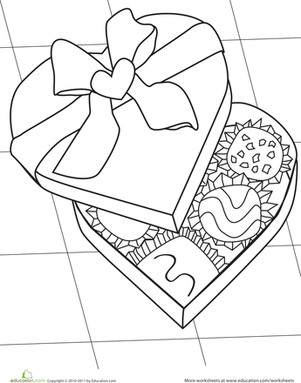 Kindergarten Holidays Worksheets: Valentine Candy Coloring Page