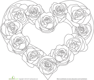 Preschool Holidays & Seasons Worksheets: Color the Heart of Roses