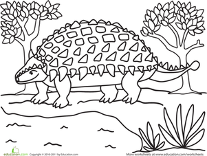 Kindergarten Coloring Worksheets: Color the Friendly Ankylosaurus