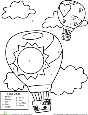Preschool Math Worksheets: Color by Number: Hot Air Balloons