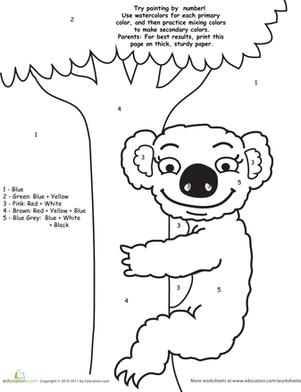 Preschool Math Worksheets: Watercolor Paint by Number: Koala Bear